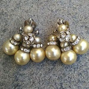 Vintage Faux Pearl & Rhinestone Clip Earrings